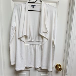 Anthro LlLLA P White Open Front Jacket Cardigan